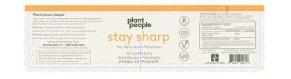 Plant People Stay Sharp Capsules Back Label for sale